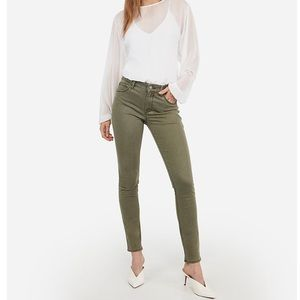 EXPRESS green moto skinny ankle cropped jeans